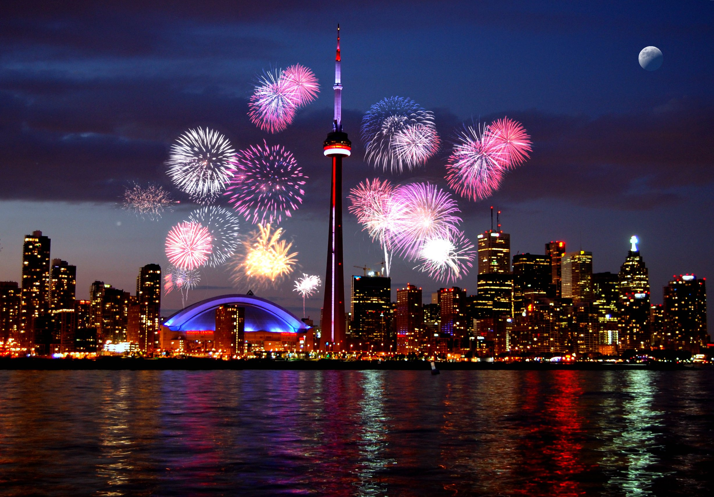 Fireworks light up the Sky Above Toronto City.