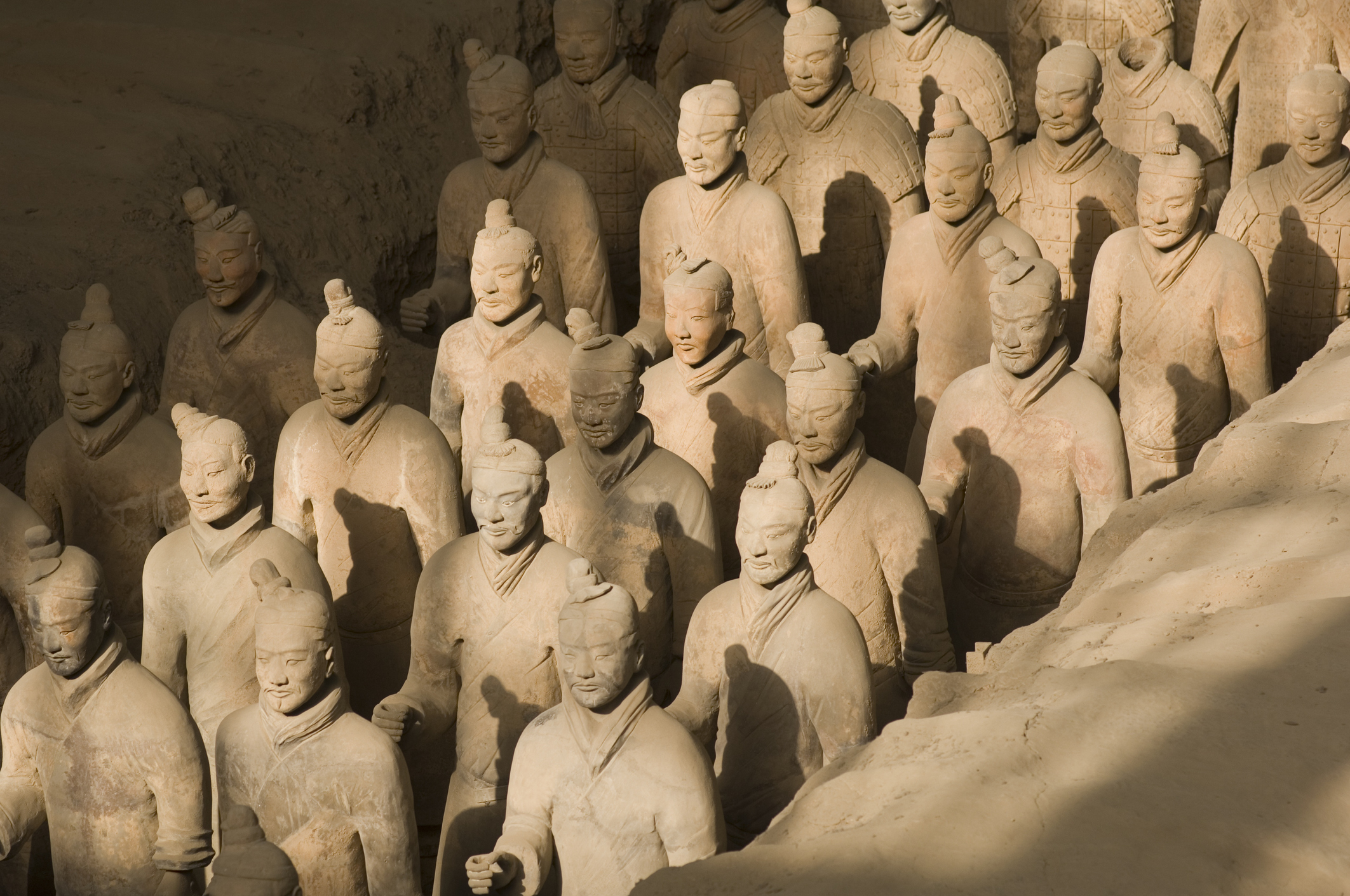 Terracotta soldiers in the Mausoleum of Emperor Qin Shi Huang, Xi'an, Shaanxi Province, China.