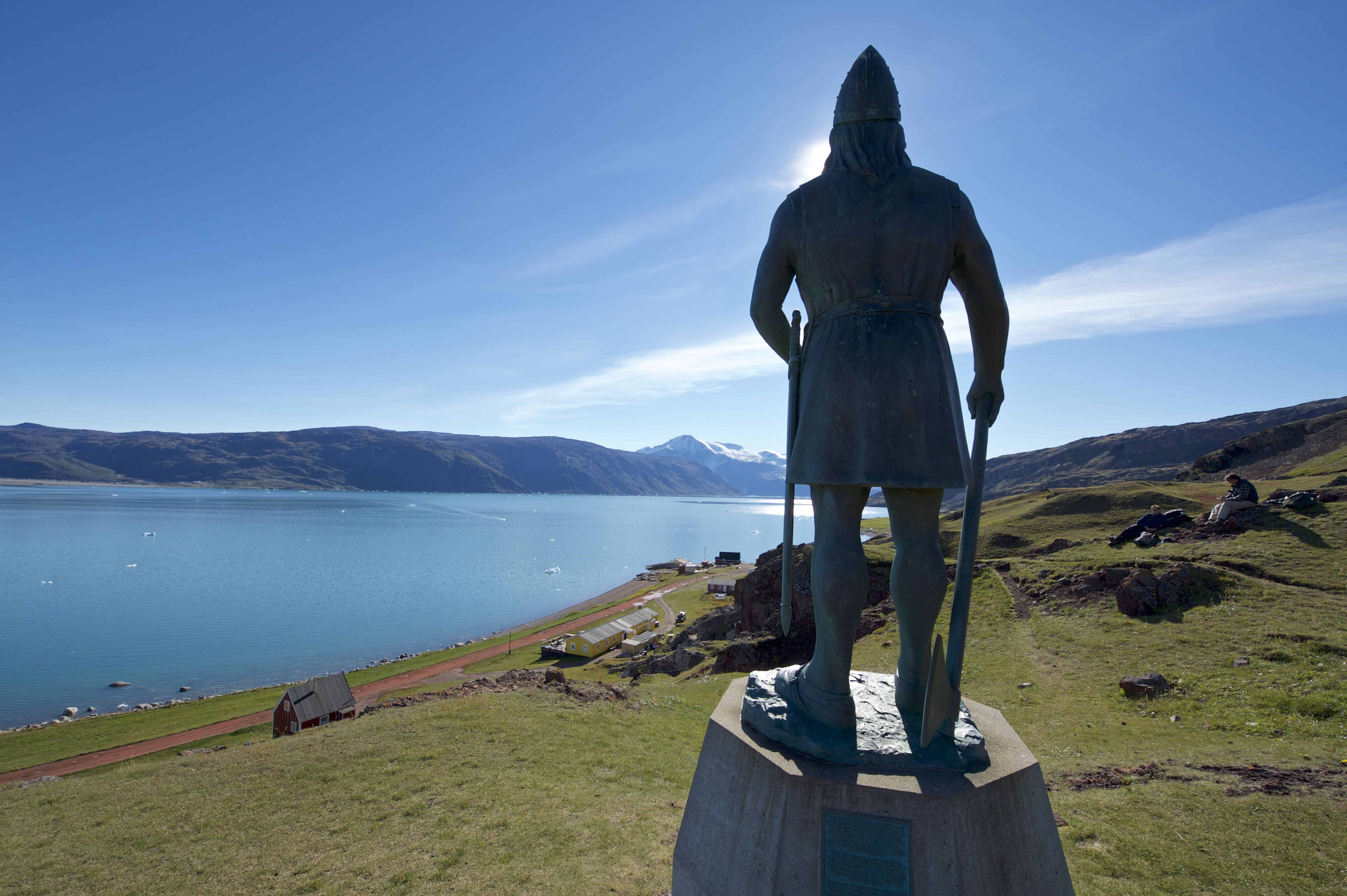 Statue of explorer Leif Ericson in Brattahlid/Qassiarsuk, Southern Greenland.