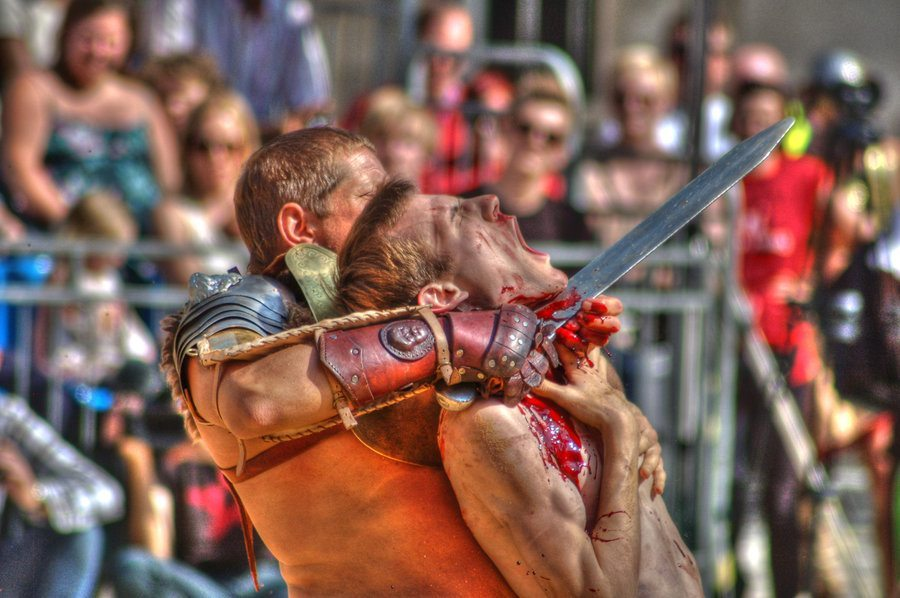 the theme of death of roman gladiators in gladiator battles The roman empire  gladiators were elite, armed athletes, who took part in violent, and often deadly, combat in public spectacles, the greatest arena of all was the colosseum in rome.