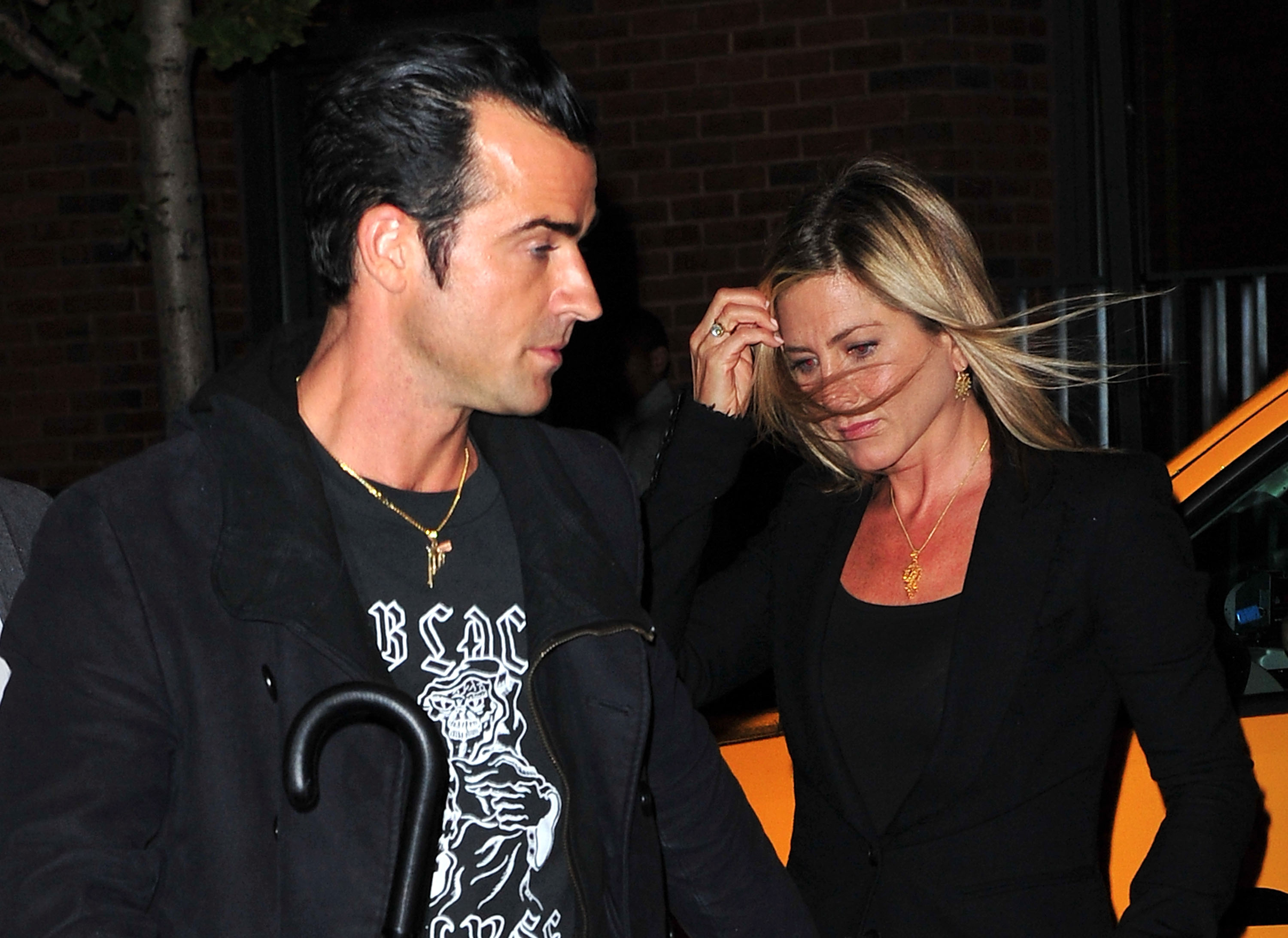 Celebrity Sightings In New York City - September 15, 2011. Jennifer Aniston and Justin Theroux.