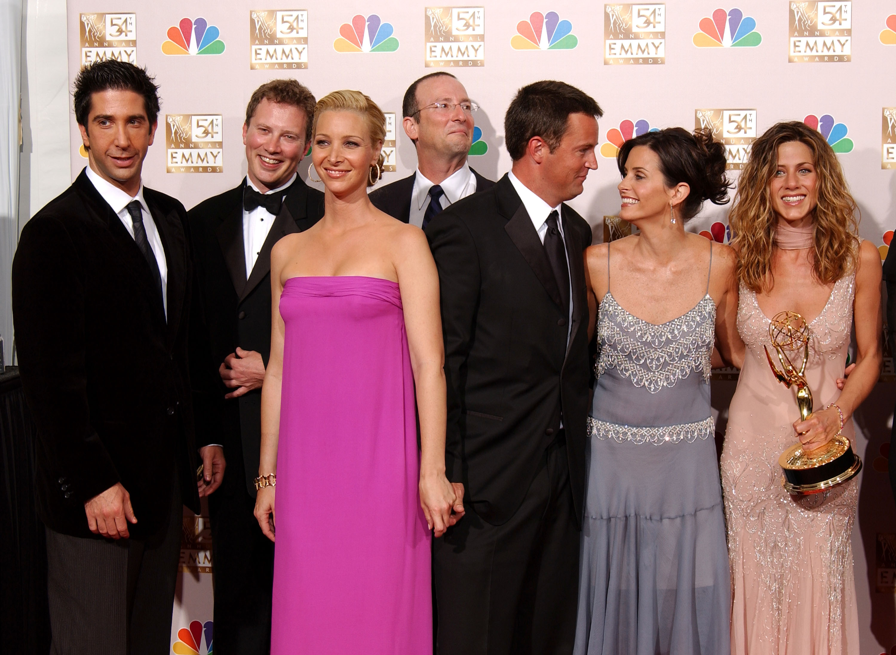 Friends cast at 54th Annual Primetime Emmy Awards Backstage.
