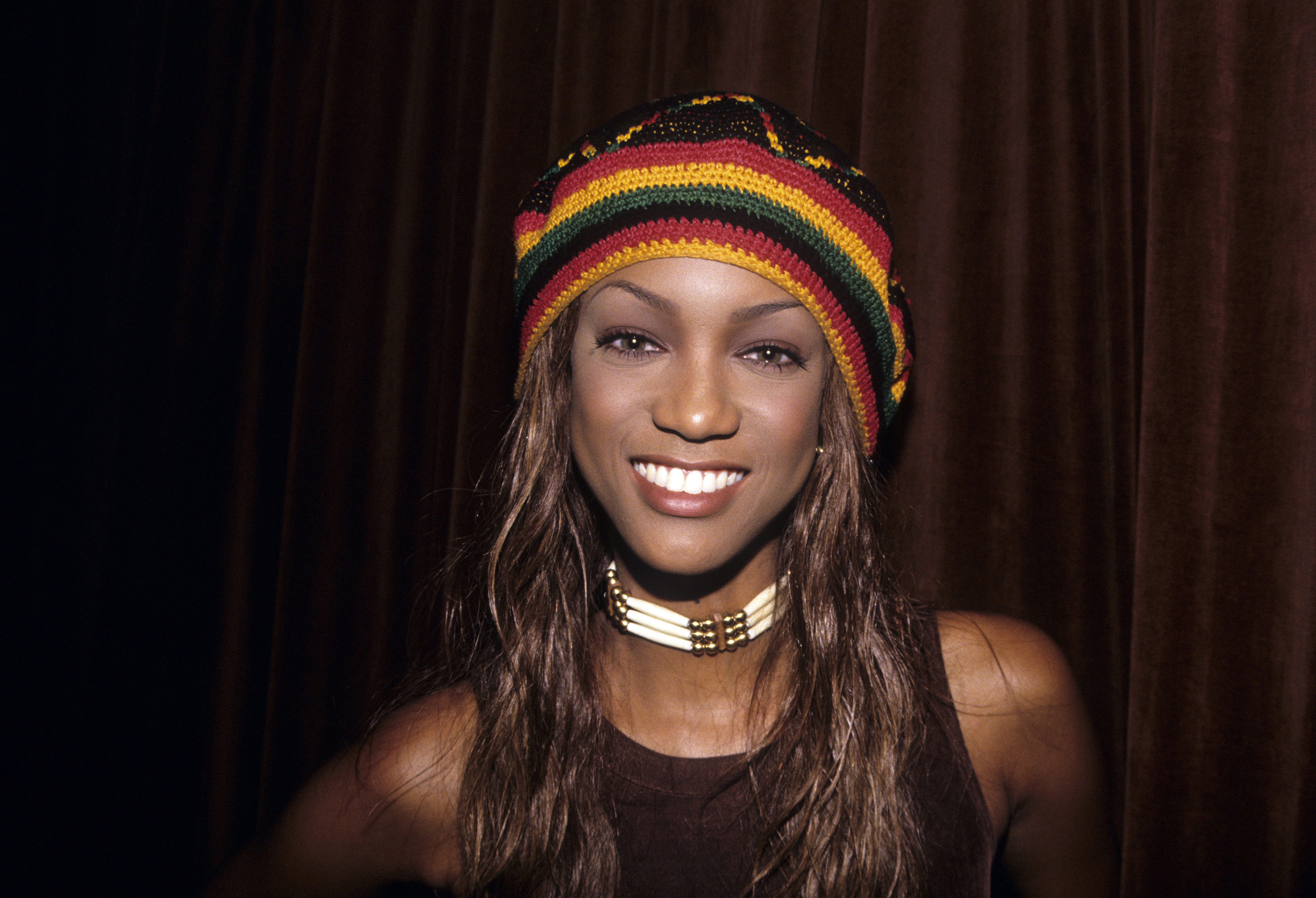 Tyra Banks wearing rasta hat