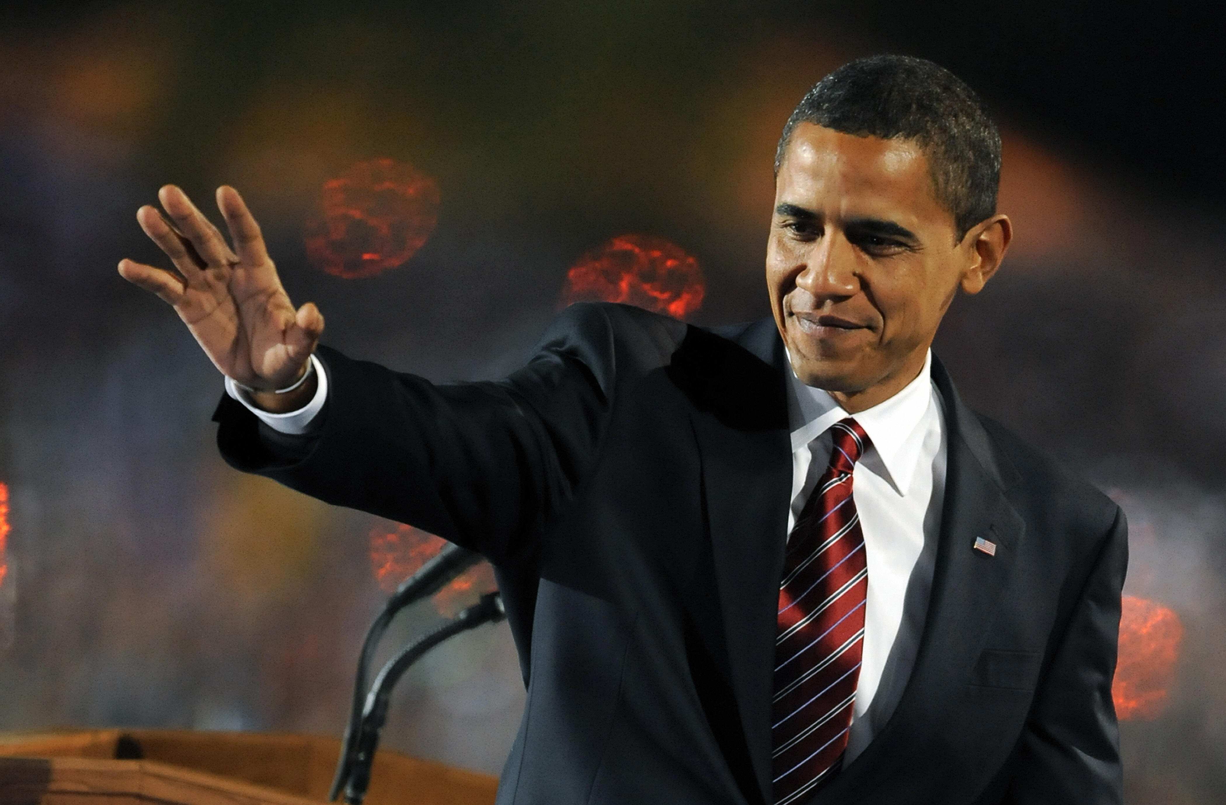 US president-elect Barack Obama waving at his supporters.