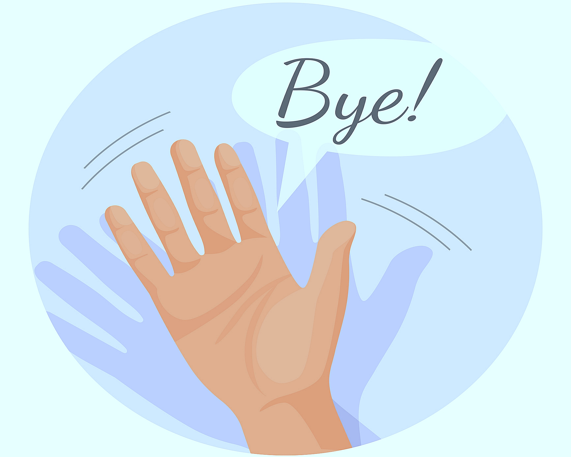 Hand waving goodbye vector illustration in round circle isolated.