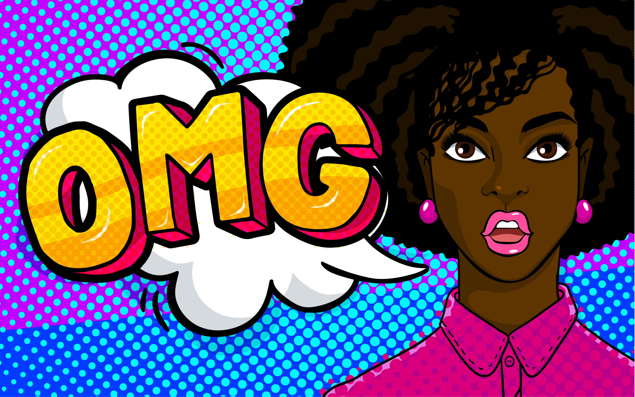 Afro - american woman face in pop art style.