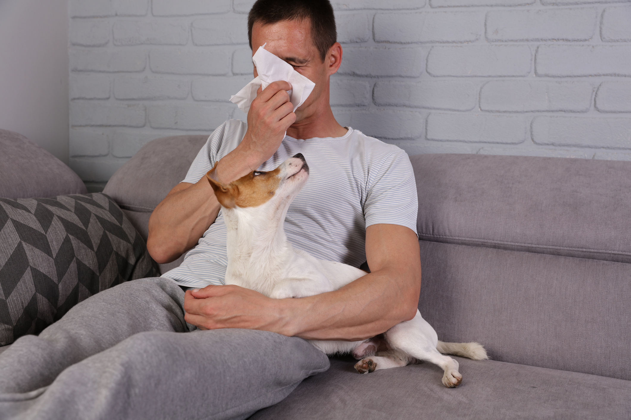 Man having pet allergy symptoms