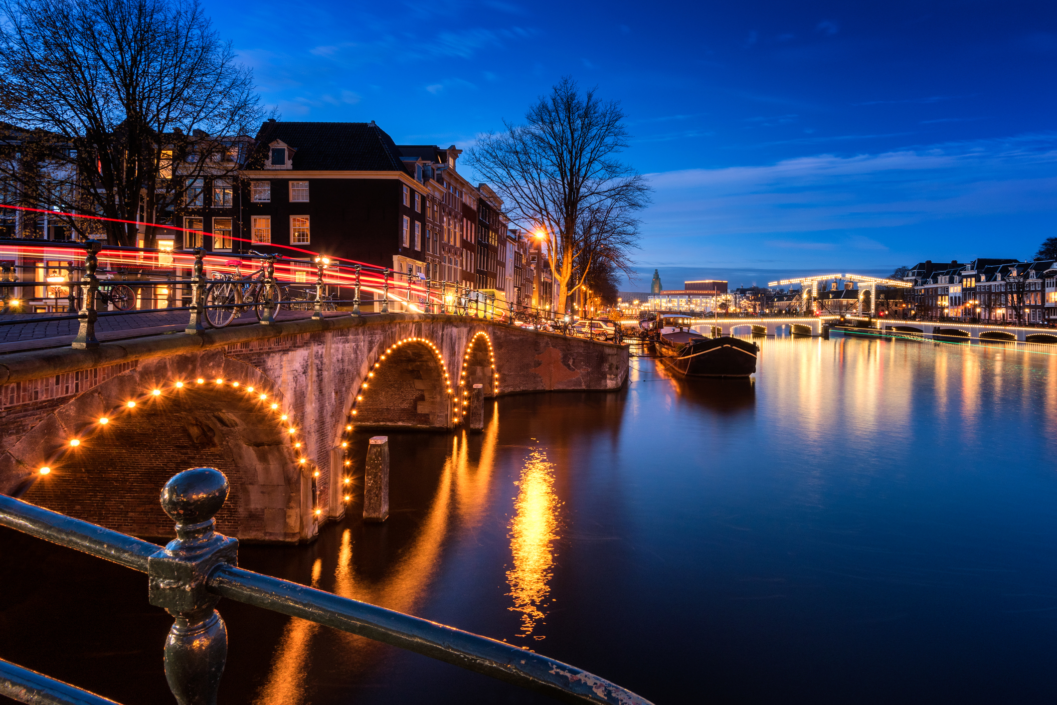 Amsterdam Canals and Bridges at Dusk