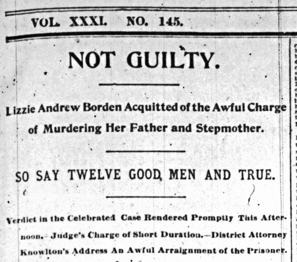 Image result for lizzie borden found innocent of murder