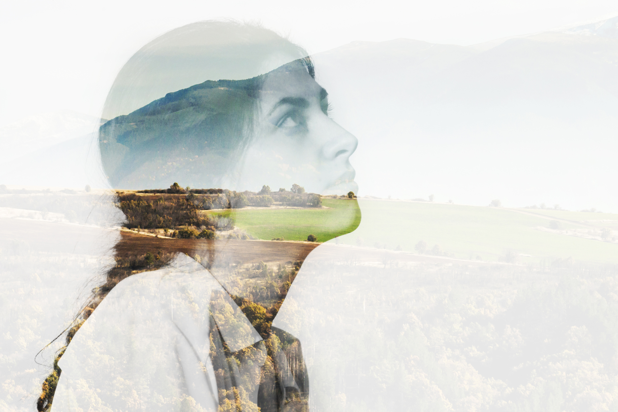 Illustration of a woman and nature landscape.