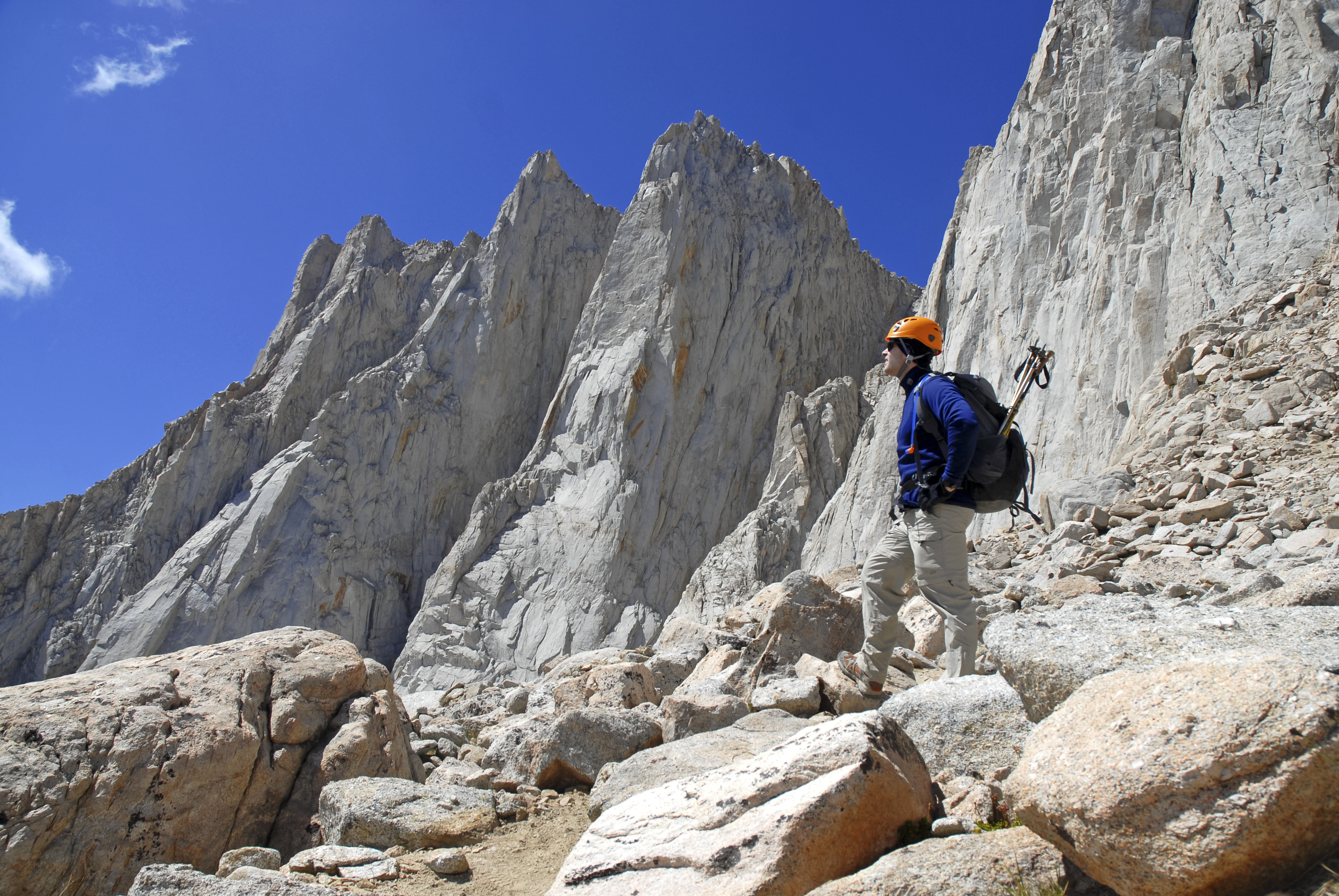 Mountain climber on Mount Whitney, Sierra Nevada Mountains