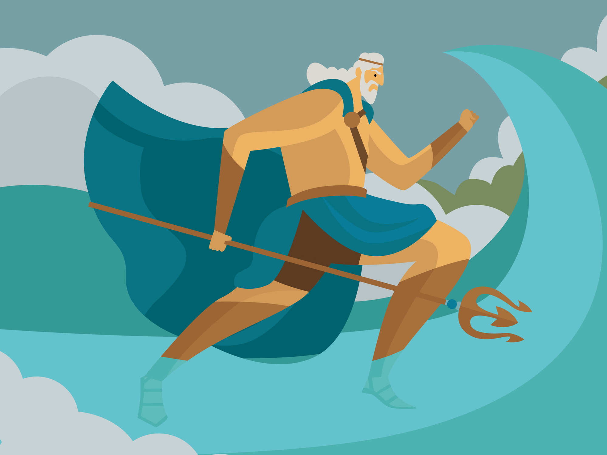 God Poseidon vector art illustration.
