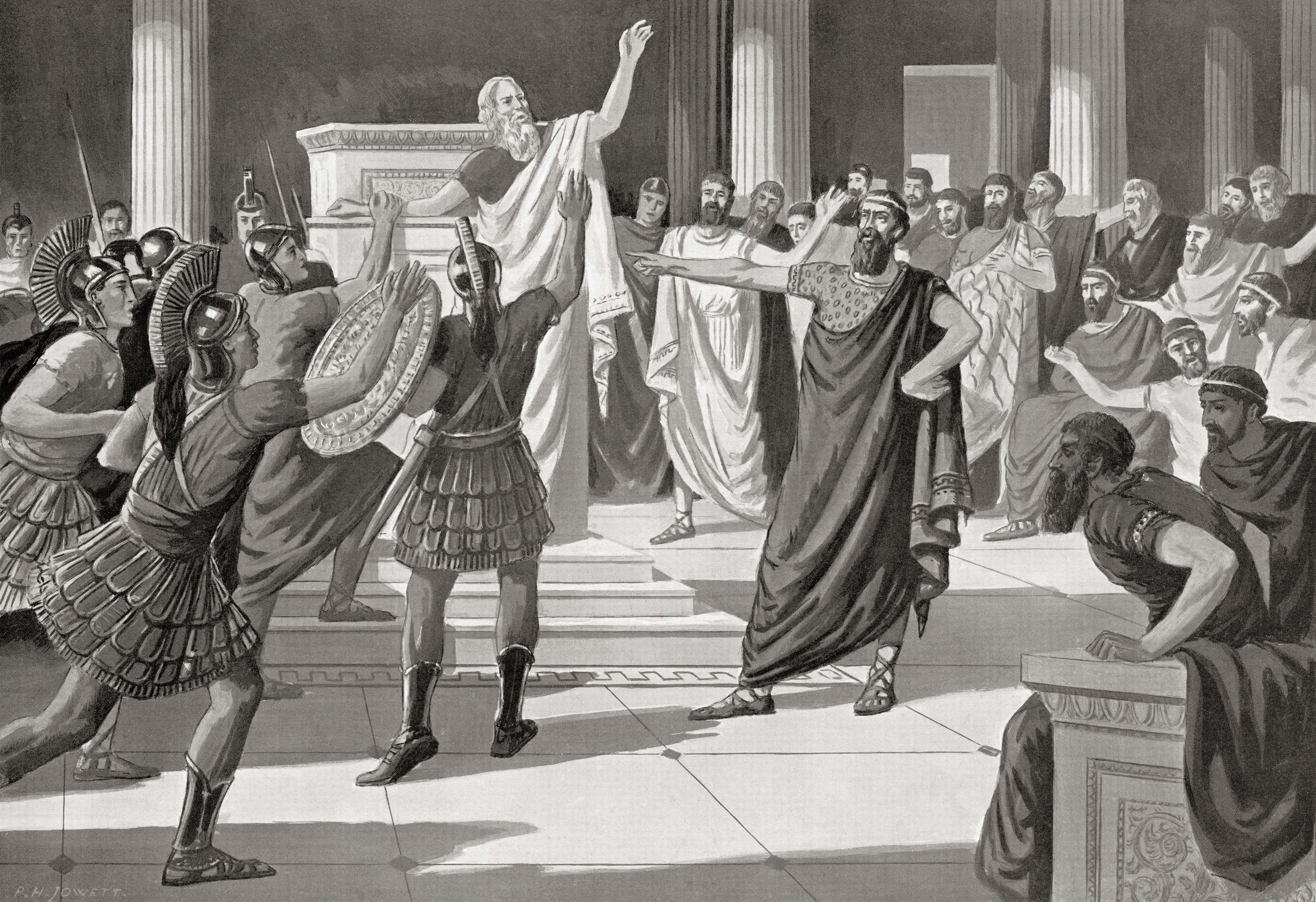 Critias ordering the execution of Theramenes.