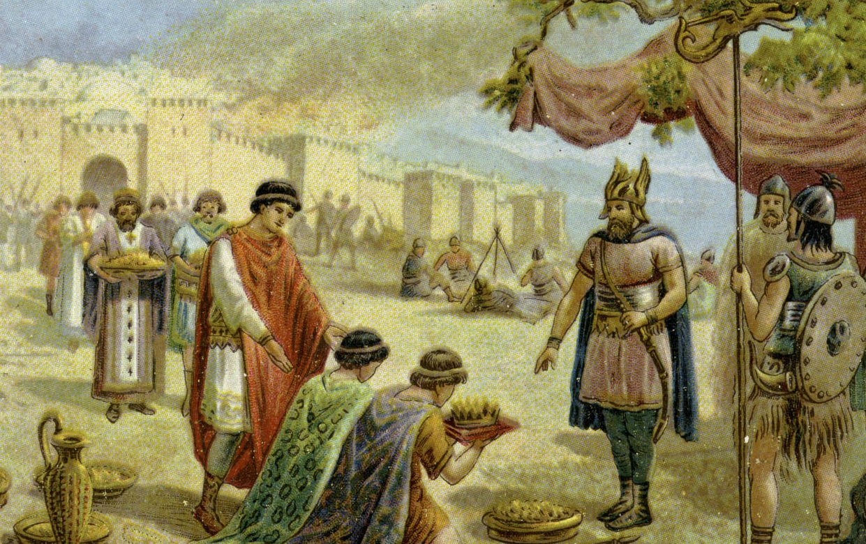 Attila the Hun arrives in Byzantine