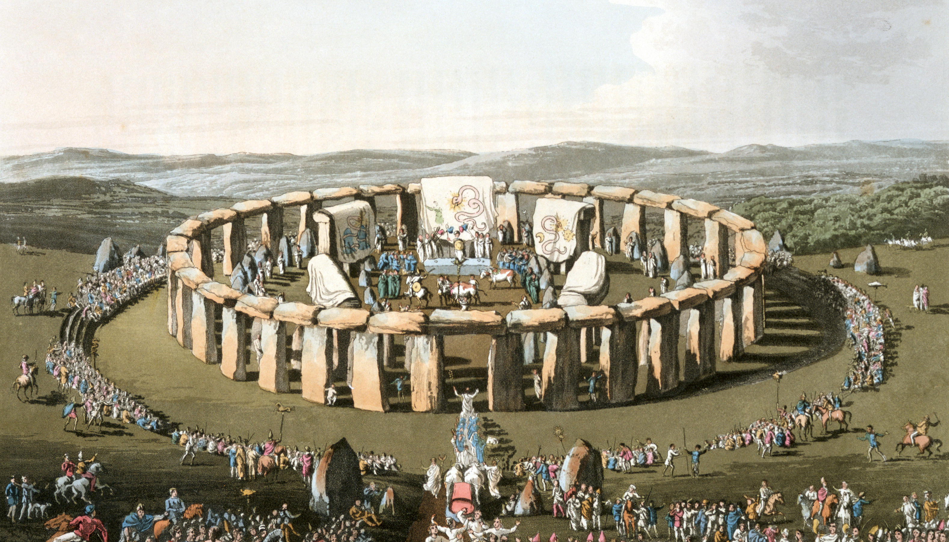 Illustration of a Druid Ceremony at Stonehenge