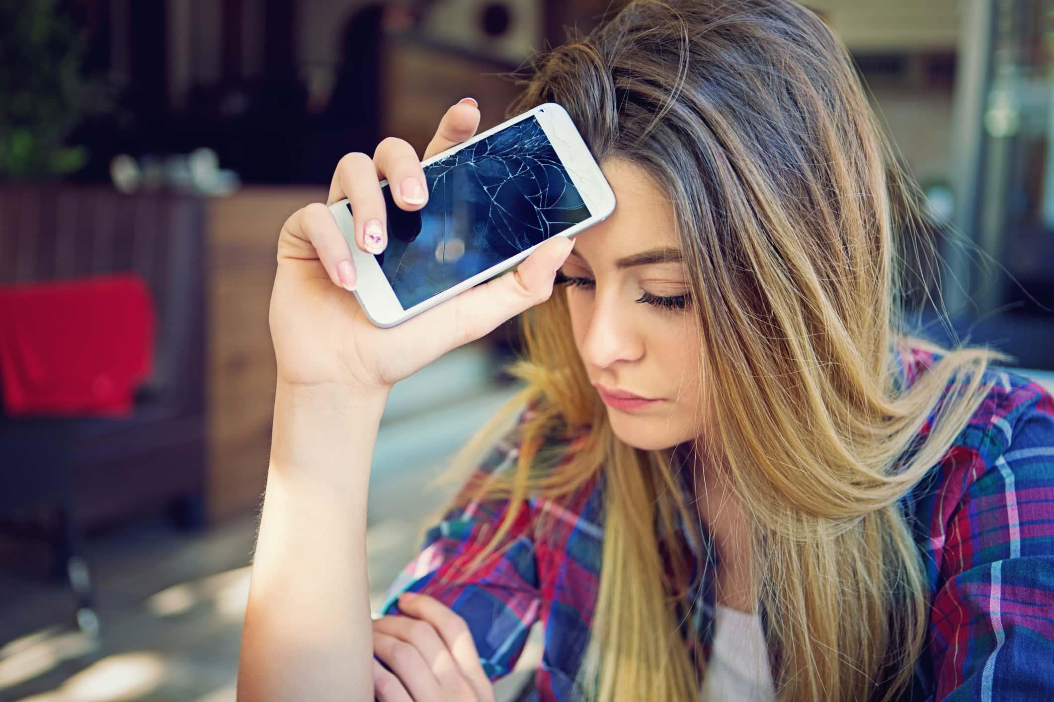 Broken mobile phone.