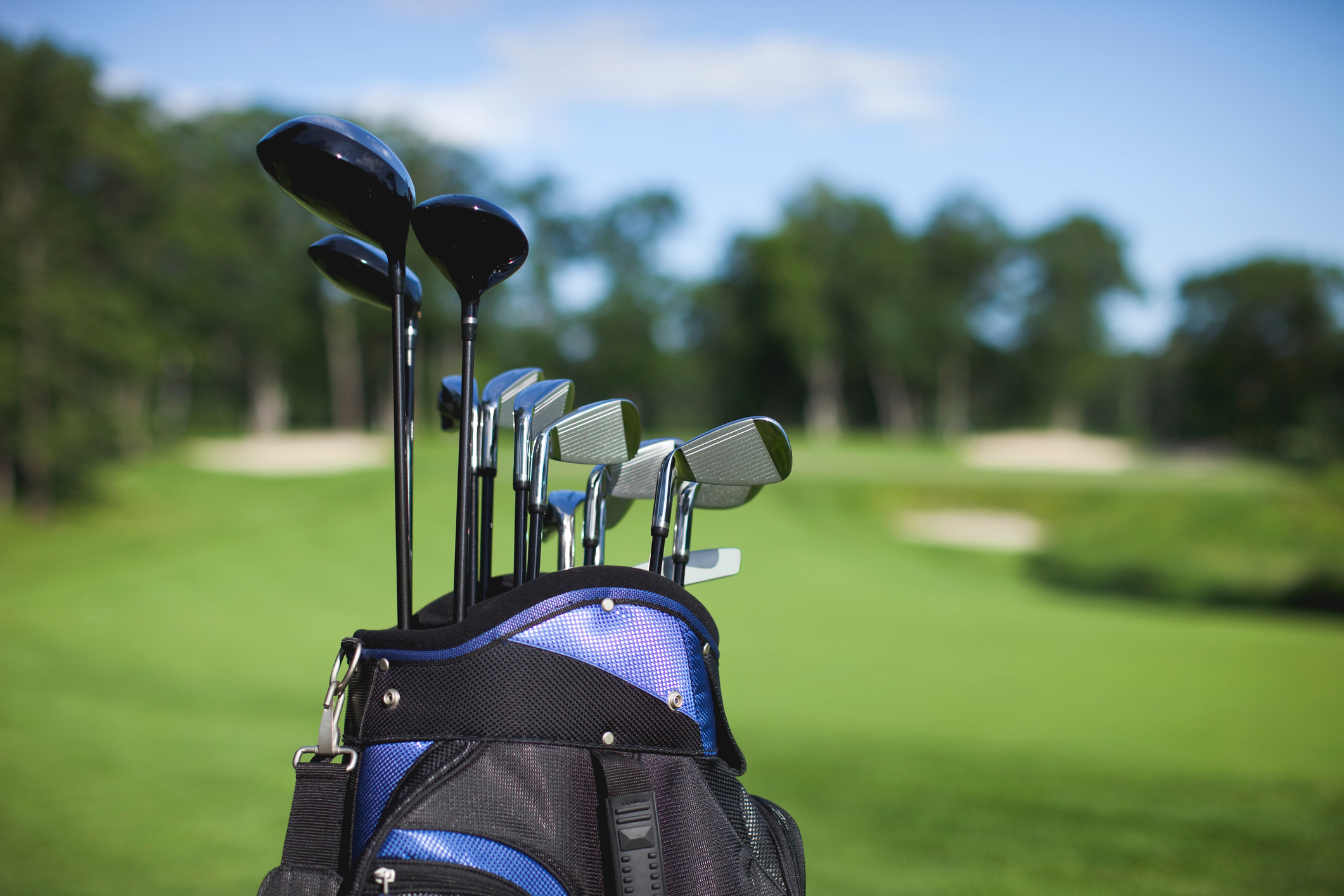 Close-Up Of Golf Clubs In Bag.