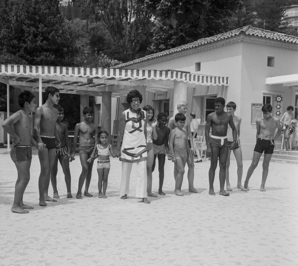 Josephine Baker on vacation with her children in Monte Carlo.