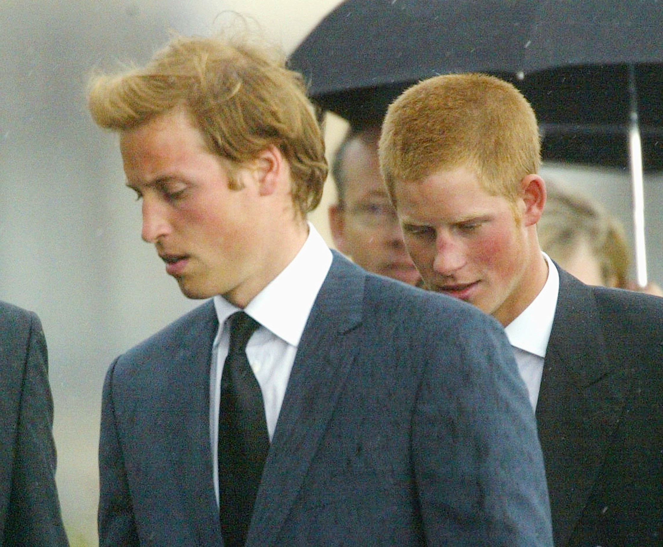 UK: Funeral of Frances Shand Kydd. Prince William and prince Harry.