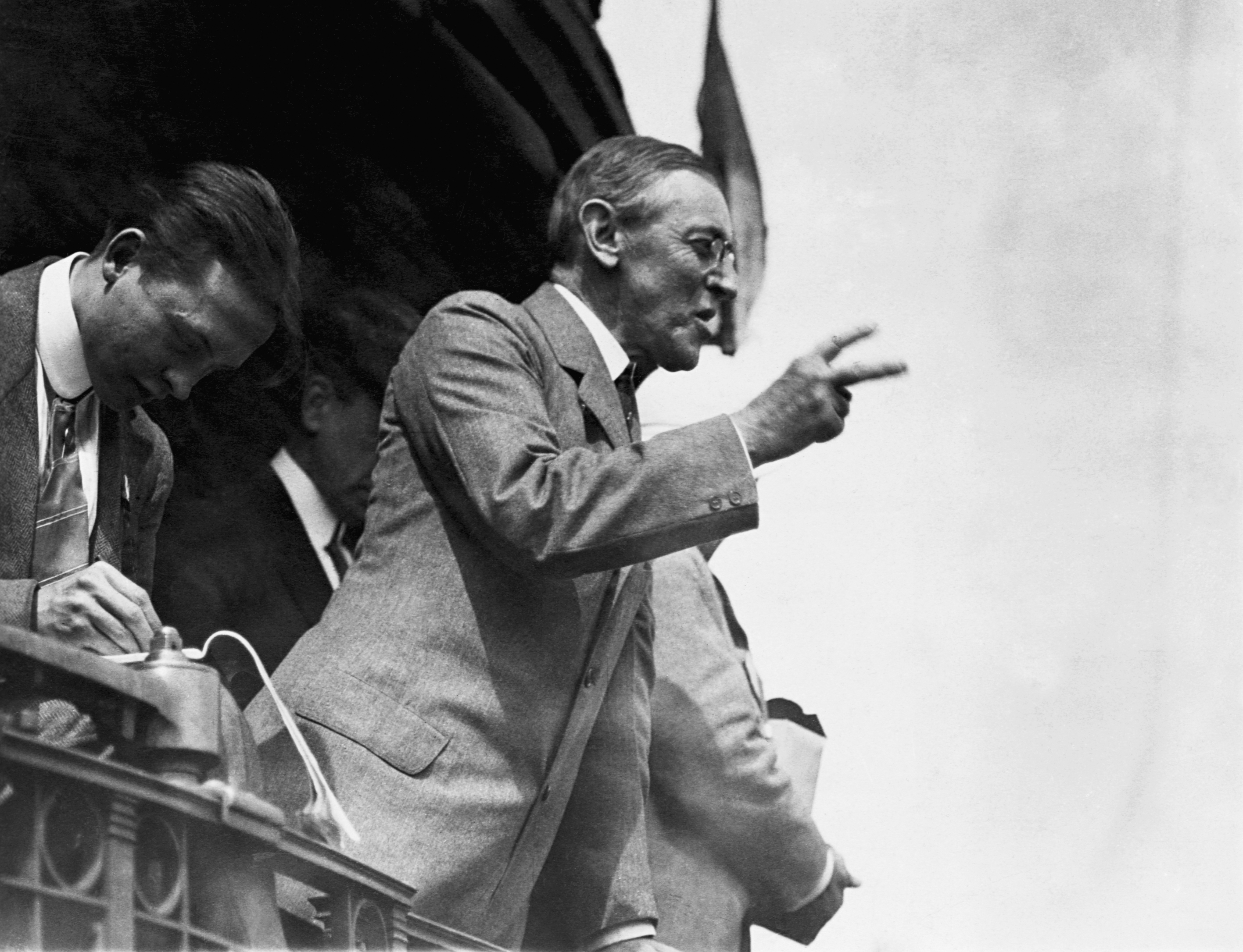 President Woodrow Wilson Delivering Speech.