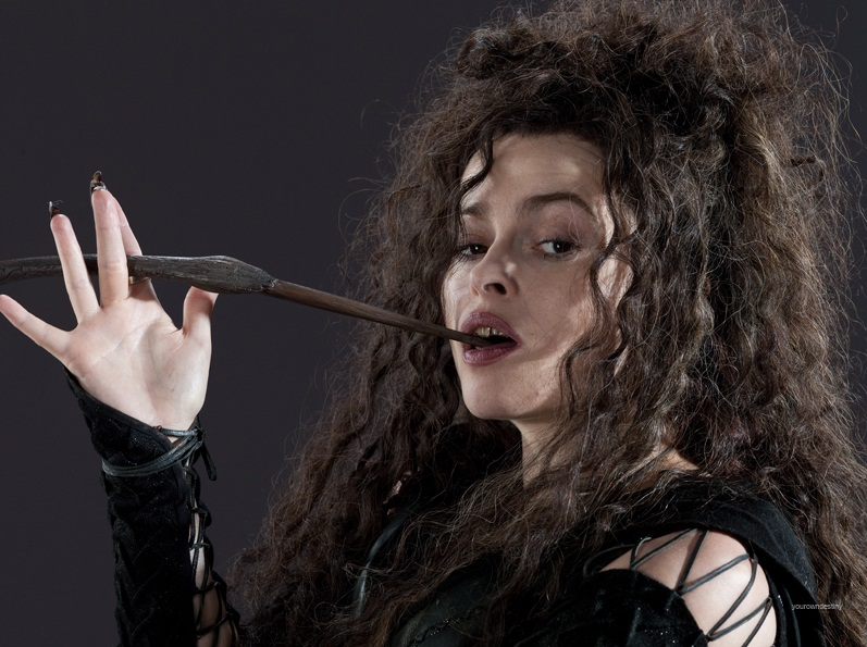 Bellatrix Lestrange with her wand.