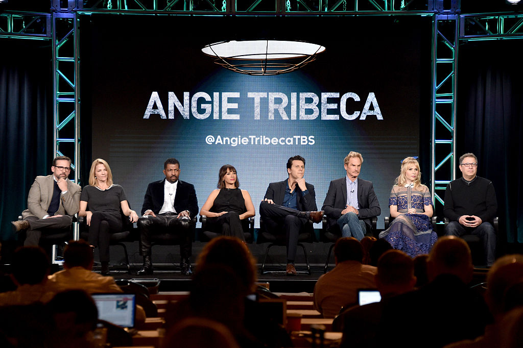 "Executive producers Steve Carell and Nancy Carell, actors Deon Cole, Rashida Jones, Hayes MacArthur, Jere Burns, Andree Vermeulen and executive producer Ira Ungerleider of ""Angie Tribeca"" speak onstage during the 2016 TCA Turner Winter Press Tour Presentation at the Langham Hotel on January 7, 2016 in Pasadena, California. 25807_002 (Photo by Mike Windle/Getty Images for Turner)"